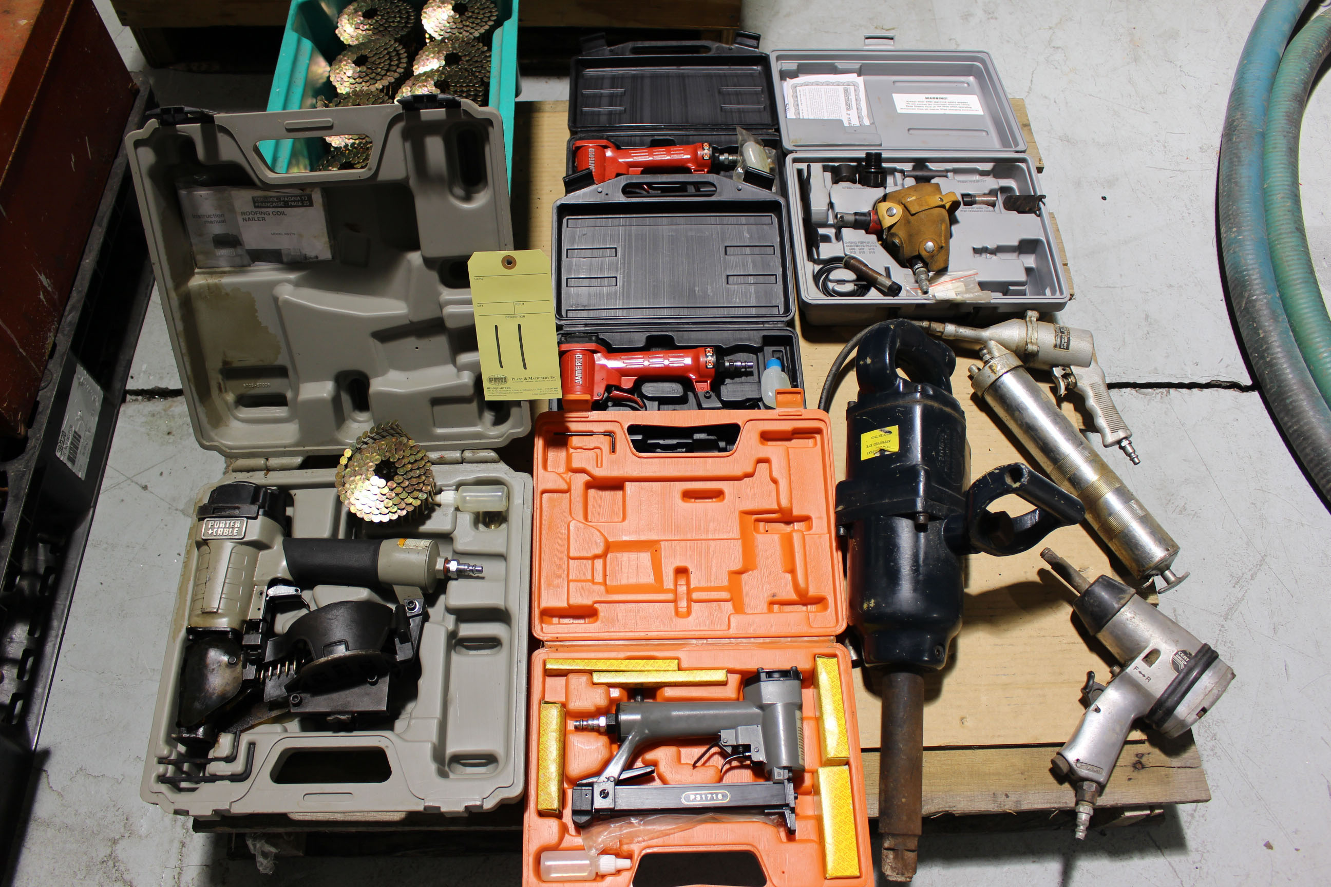 Lot 11 - LOT OF PNEUMATIC TOOLS: nail guns, H.D. impact guns, grease gun