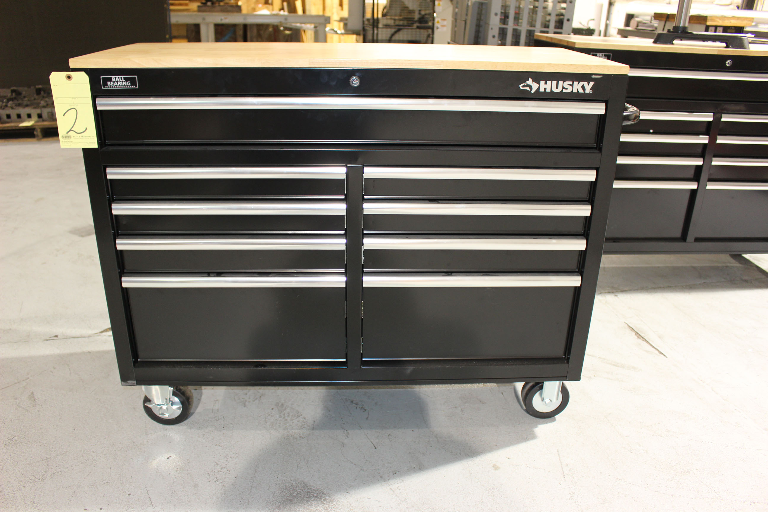 Lot 2 - TOOLBOX, HUSKY, 9-drawer, wood top
