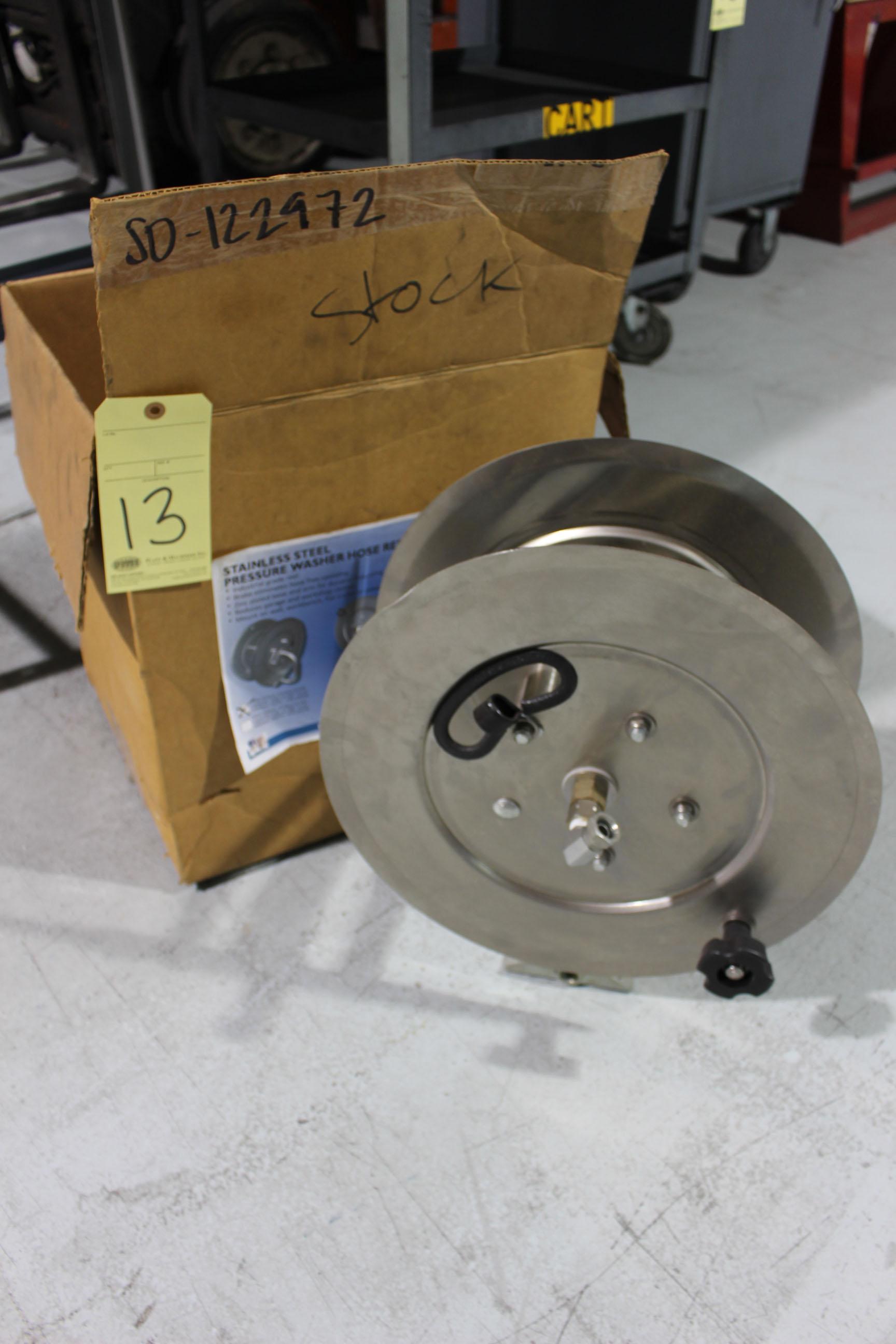 Lot 13 - PRESSURE WASHER HOSE REEL, HYDROTEK, stainless steel