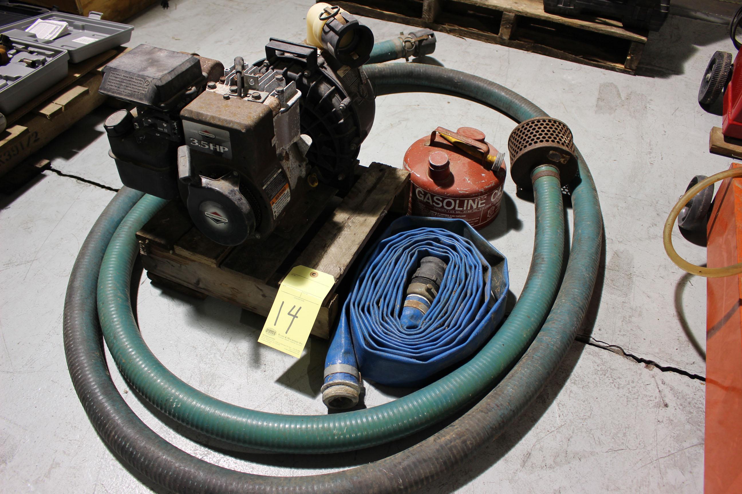 "Lot 14 - TRASH PUMP, BRIGGS & STRATTON 2"", 3.5 HP, w/hose"