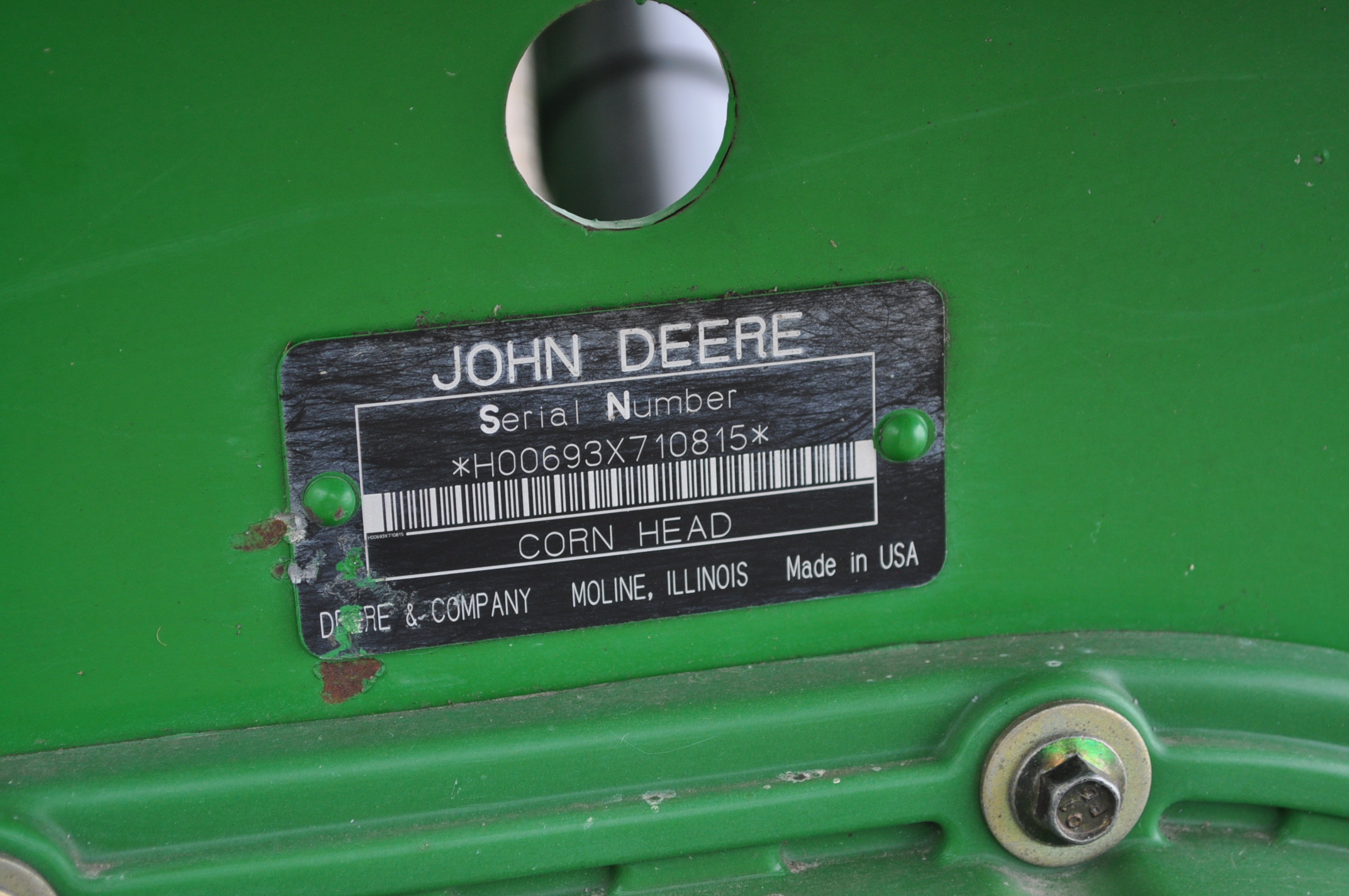 John Deere 693 corn head, poly, fluted rolls, hyd deck plates, pto shafts, SN 710815 - Image 11 of 14