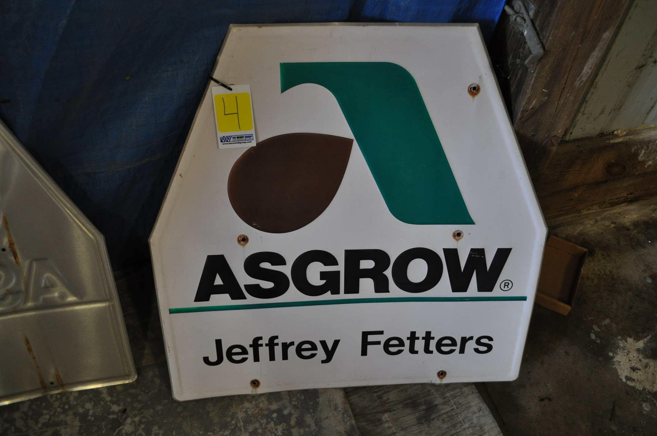 Metal Asgrow seed sign, Jeffery Fetters