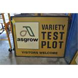Metal Asgrow seed sign, Variety Test Plot, Visitors Welcome