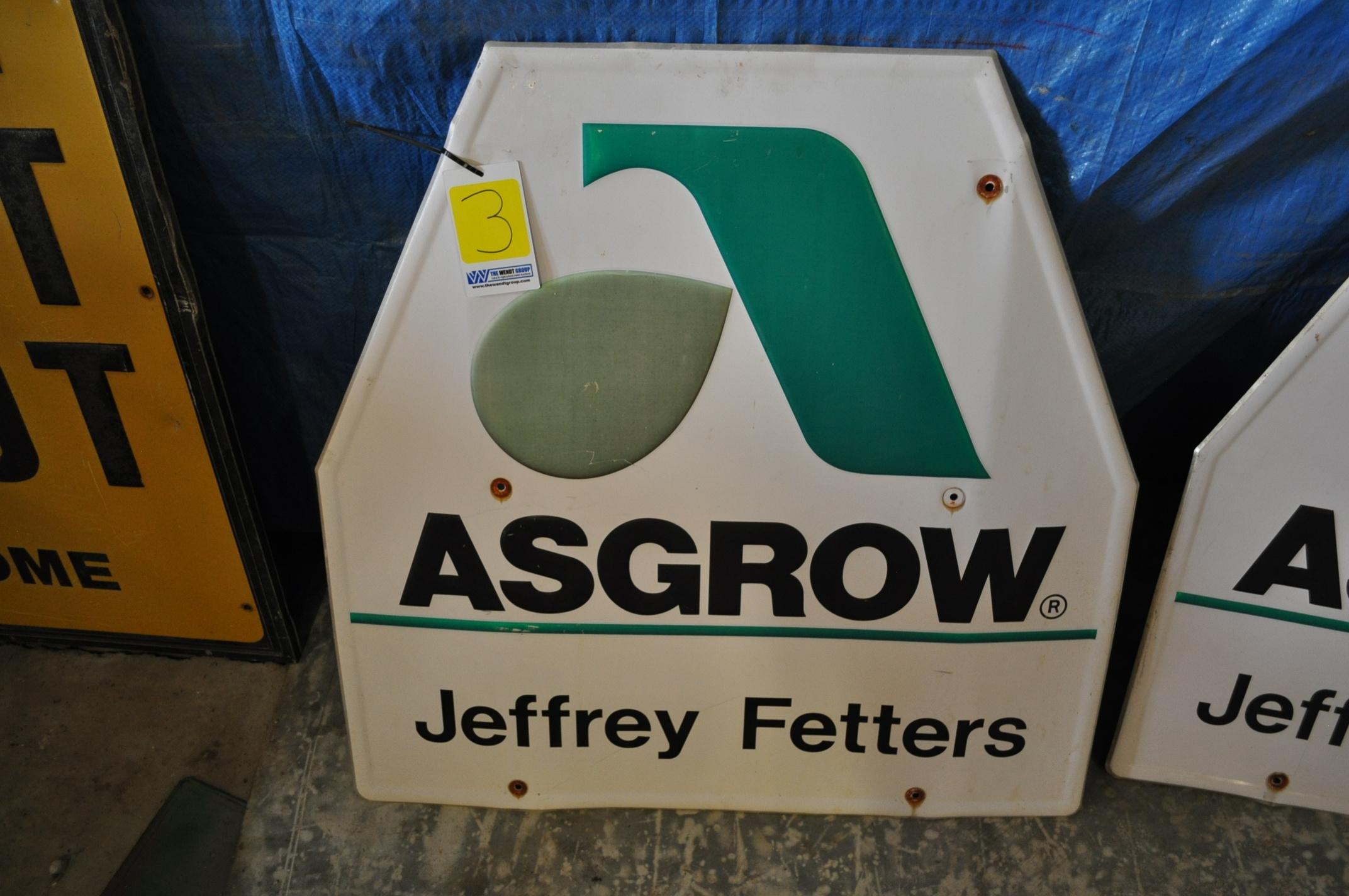 Metal Asgrow seed sign, Jeffery Fetters