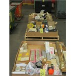 LOT CONSISTING OF machinery parts on pallets, various (3), file cabinet w/electrical, bearings,