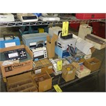 LOT OF SHELF CONTENTS, lab meters, lab glassware, assorted