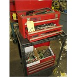 LOT OF TOOL CHESTS, 3-drawer, w/contents on cart (2)