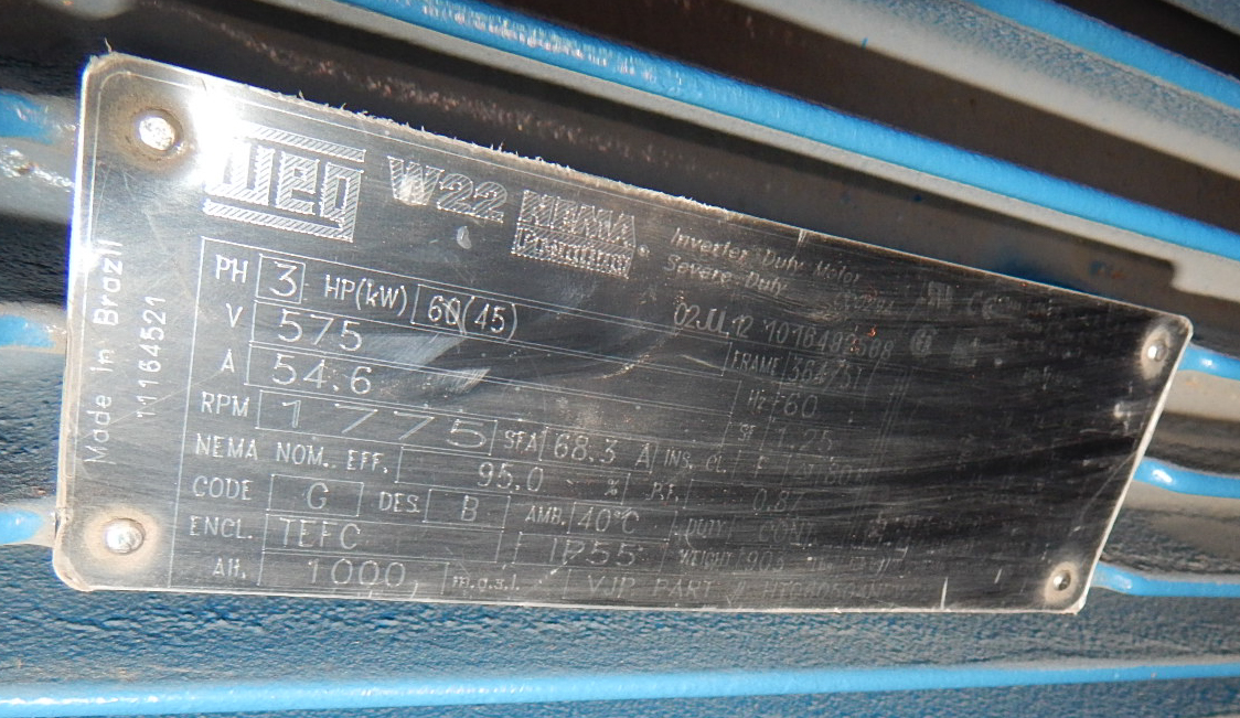 WEG 60 HP/ 1775RPM/ 575V/ 3PH/ 60Hz ELECTRIC MOTOR (CMD) - Image 3 of 3