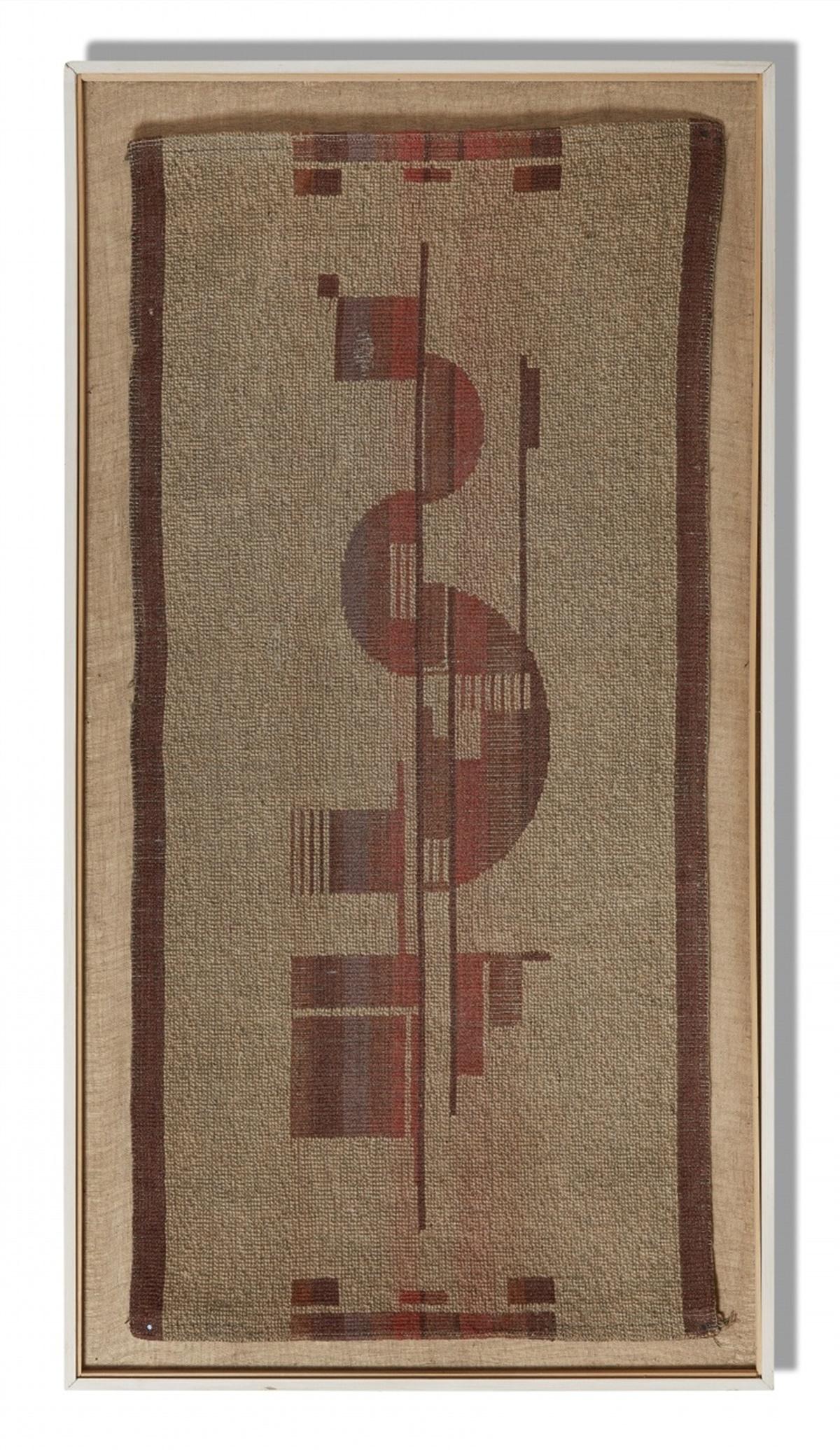 Bauhaus-GewebeWolle, montiert auf Stramin, gerahmt. Als zentrales Motiv geometrische Formen
