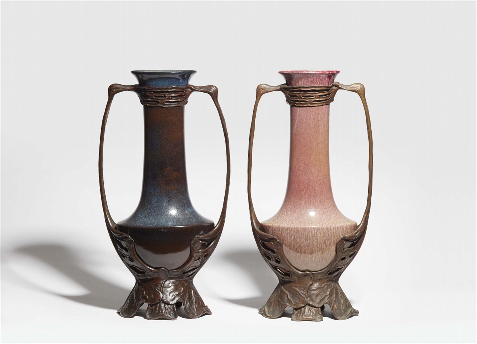 Lot 4 - Große Vase von Otto EckmannKeramik / Porzellan (?), blaue und manganfarbene Scharffeuerglasur mit