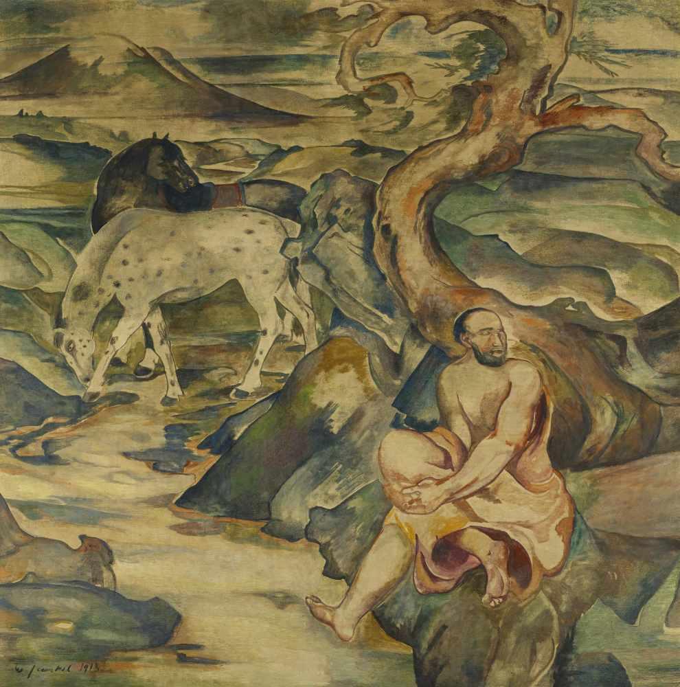 Jaeckel, Willy1888 Wroclaw - 1944 BerlinGroße Landschaft mit Pferden. 1913. Tempera on canvas. 155 x
