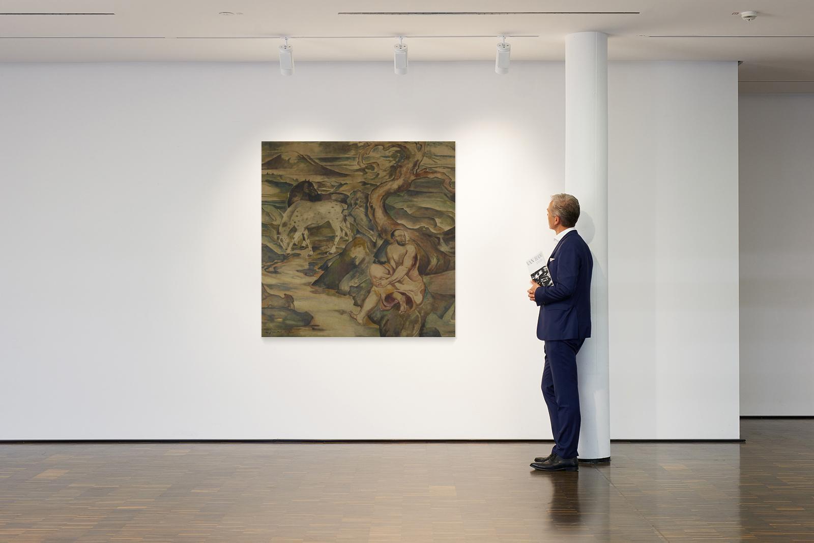 Jaeckel, Willy1888 Wroclaw - 1944 BerlinGroße Landschaft mit Pferden. 1913. Tempera on canvas. 155 x - Bild 2 aus 2