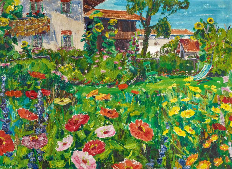 "Los 1 - Balwé, Arnold1898 Dresden - 1983 Prien""Bauerngarten"". 1956. Oil on canvas. 73.5 x 100cm. Signed"
