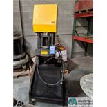 PARKER MODEL 83C HYDRAULIC HOSE CRIMPING MACHINE W/ ASSORTMENT OF DIES, FITTINGS, SET-UP TABLE &