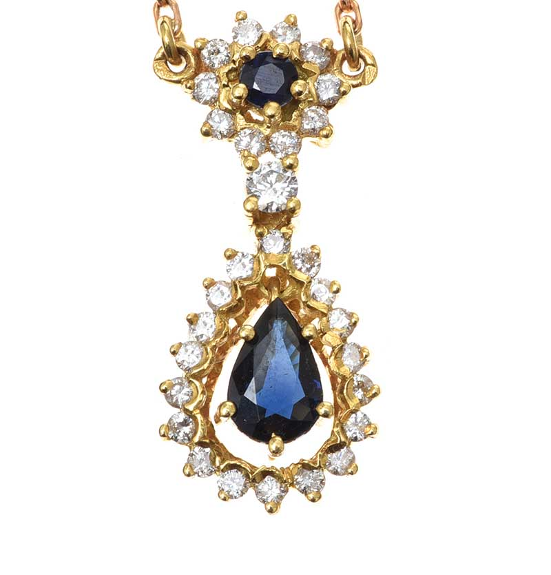 Lot 48 - 18CT GOLD SAPPHIRE AND DIAMOND NECKLACE