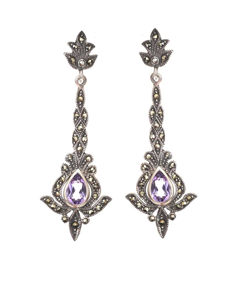 Lot 29 - SILVER MARCASITE AND AMETHYST EARRINGS