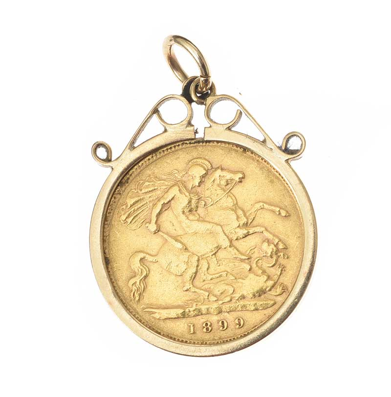 Lot 40 - 9CT GOLD MOUNTED HALF-SOVERIGN