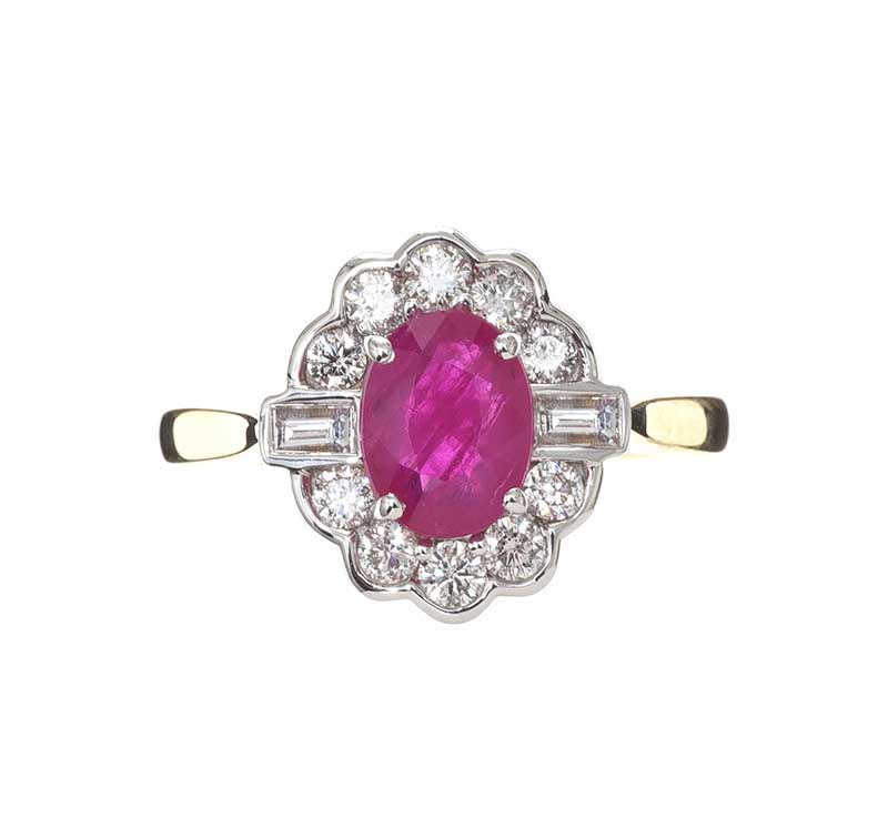 Lot 27 - 9CT GOLD RUBY AND DIAMOND RING