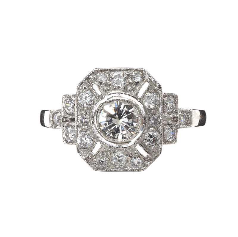 Lot 49 - PLATINUM ART DECO STYLE DIAMOND RING