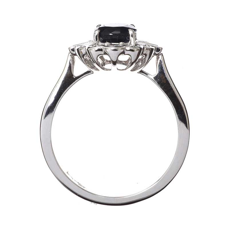 Lot 45 - 9CT WHITE GOLD SAPPHIRE AND DIAMOND RING