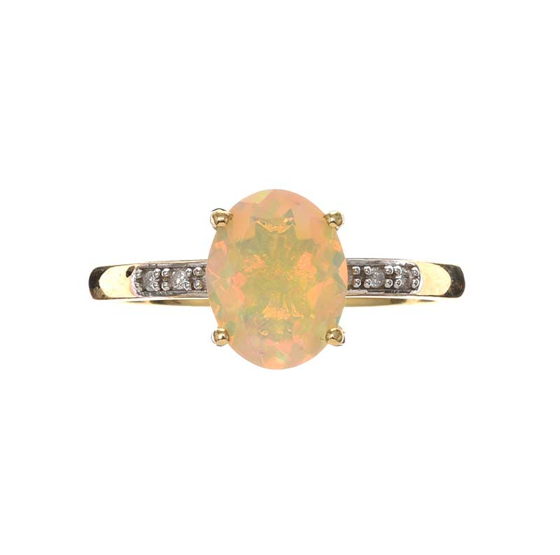 Lot 26 - 9CT GOLD OPAL AND DIAMOND RING
