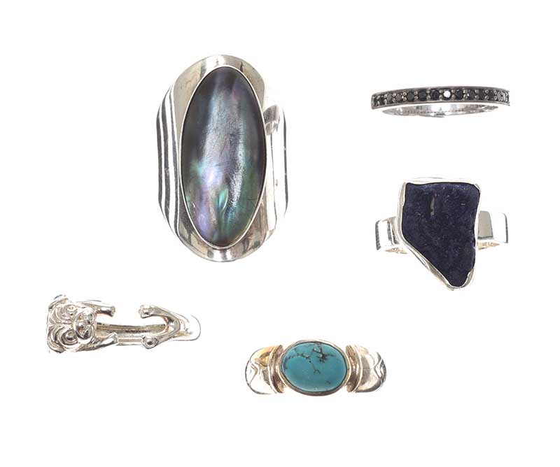 Lot 46 - SELECTION OF STERLING SILVER GEM-SET RINGS