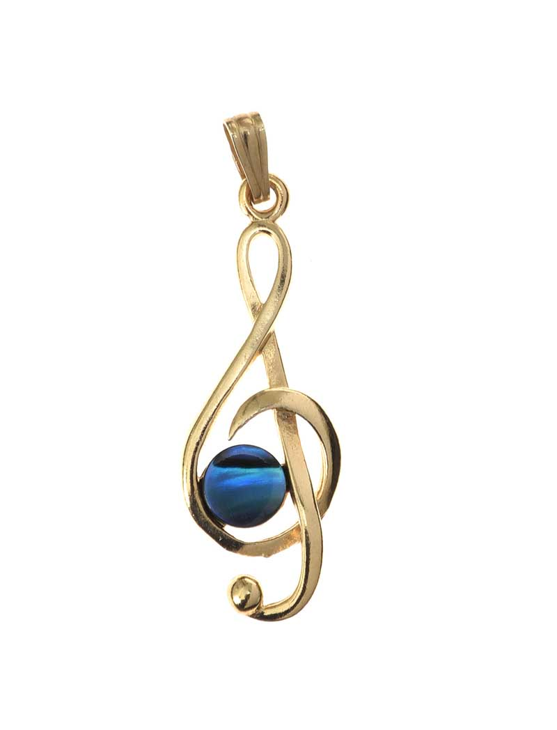 Lot 23 - GOLD-TONE MOTHER OF PEARL MUSIC NOTE PENDANT