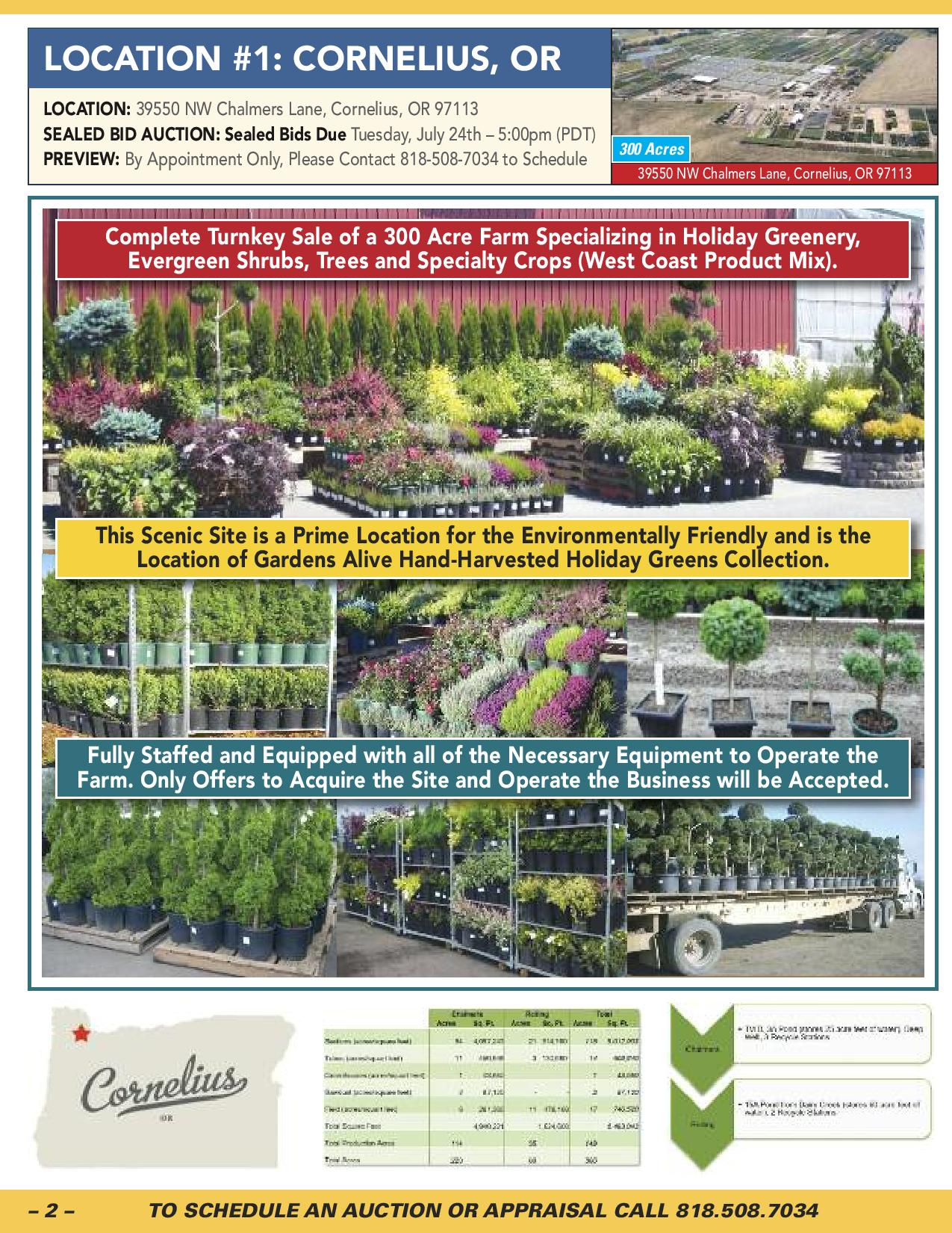 Lot 0 - Description: GARDENS ALIVE FARMS – 453 ACRE FARM SPECIALIZING IN SMALL FRUITS, GROUND COVERS,
