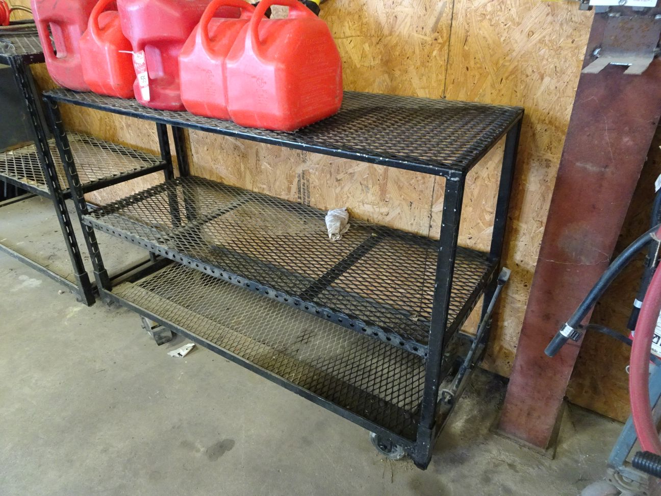Lot 55 - ASSORTED ITEMS, INCLUDES (5) GAS CANS, VARIOUS BELTS, PARTS ORGANIZERS, AND (2) METAL RACKS