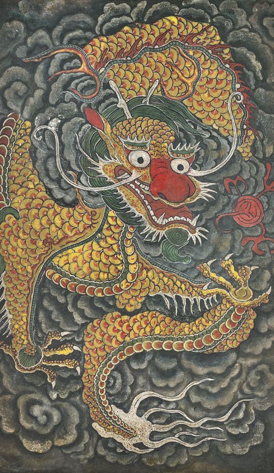 Korean Dragons Mythology: ANTIQUE KOREAN DRAGON PAINTING Antique Korean Ink And