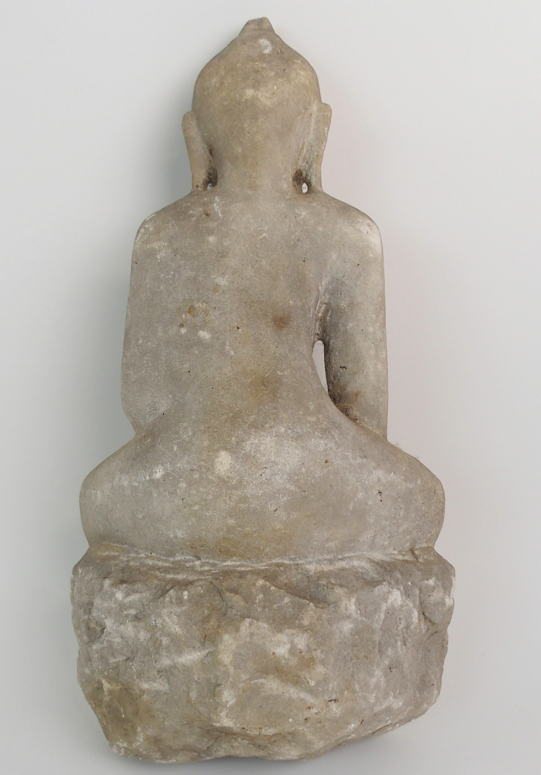 Lot 26 - AN INDIAN WHITE MARBLE STATUE OF BUDDHA seated in lotus position on a high raised lotus throne, 39cm