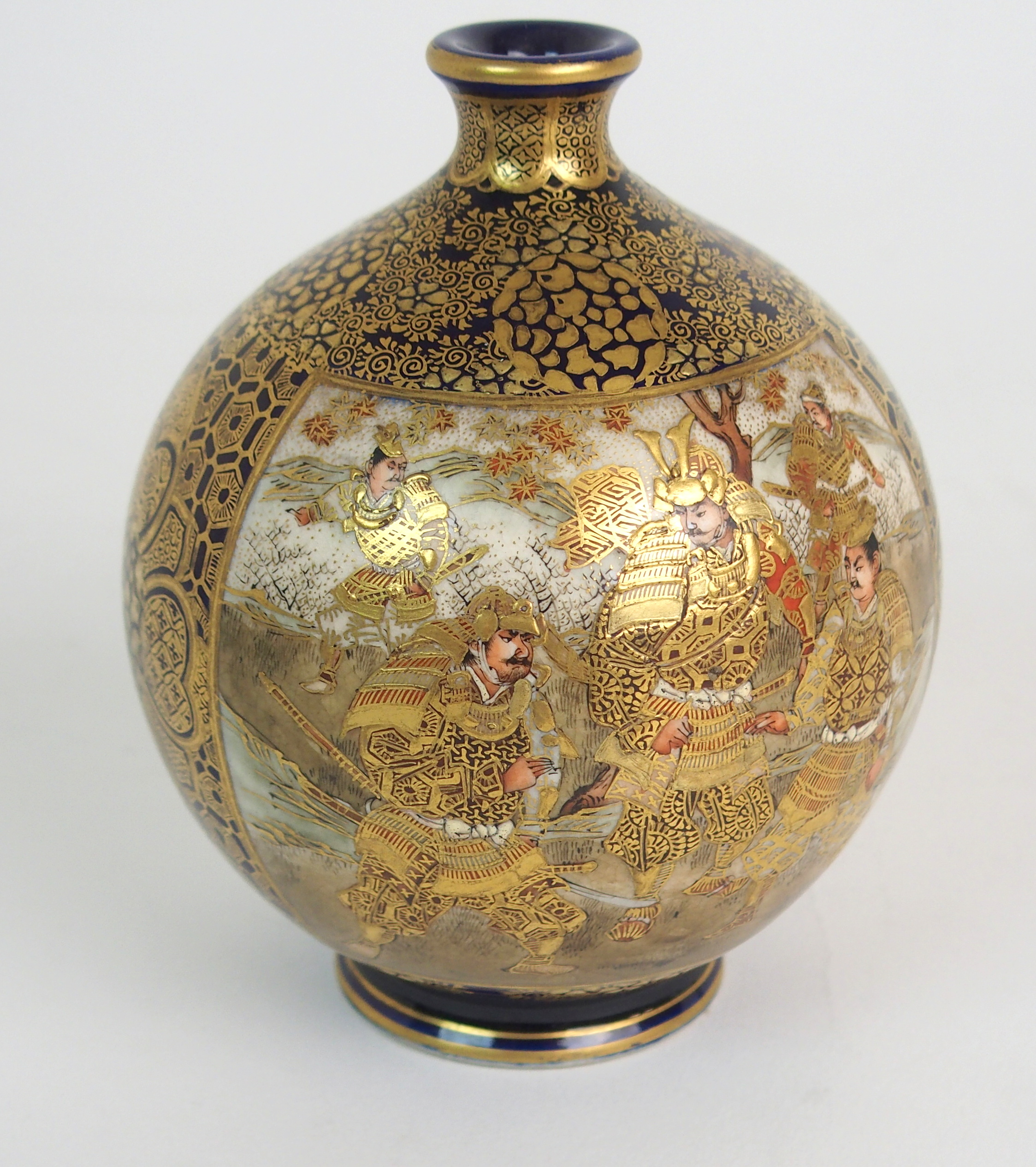 Lot 45 - A SATSUMA GLOBULAR VASE decorated with a panel of Samurai and a panel of female figures, divided