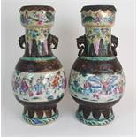 A PAIR OF CHINESE ARCHAIC STYLE CRACKLEWARE TWO HANDLED VASES each painted with panels of figures