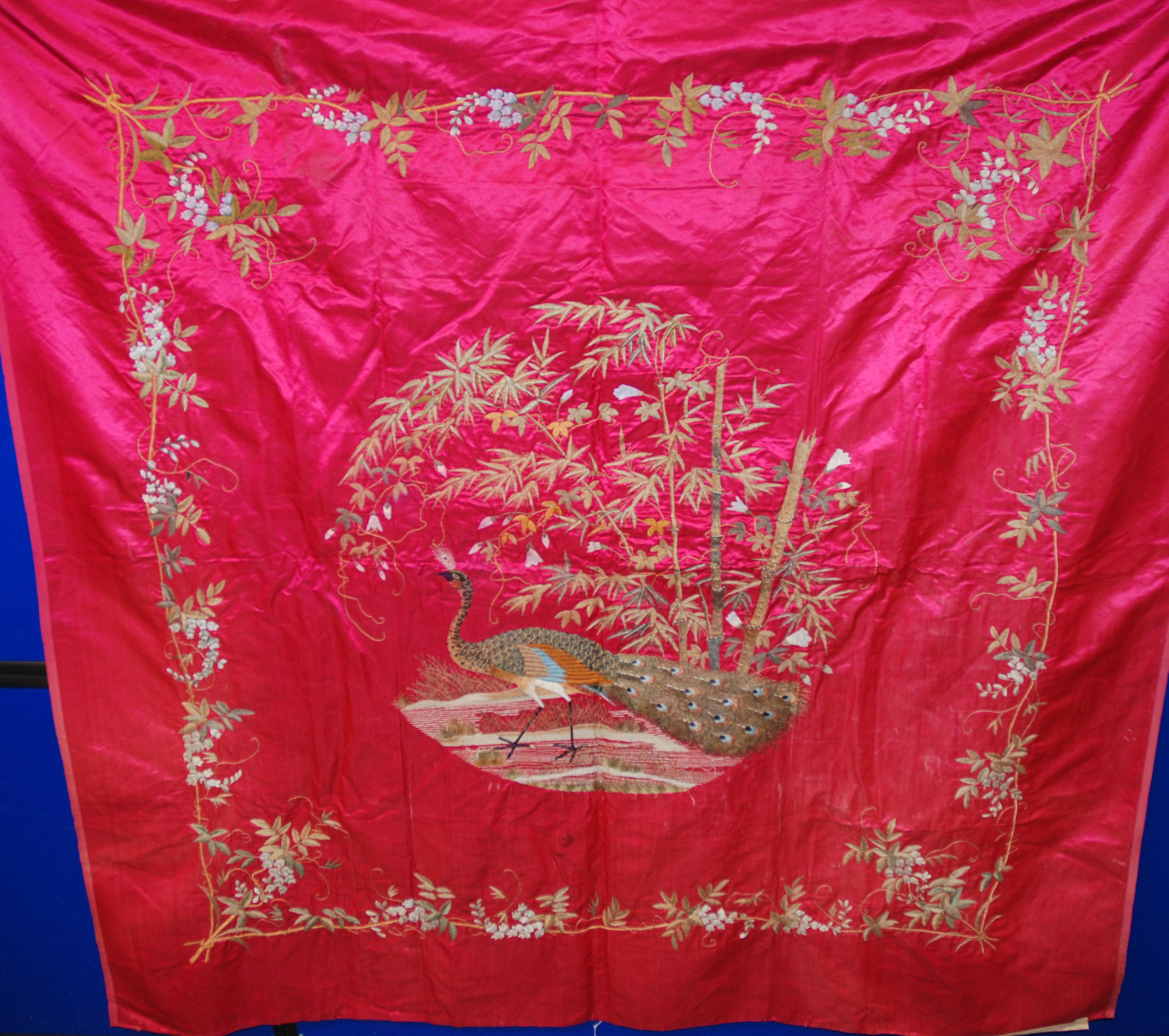 Lot 9 - A TURKISH SILK AND METAL THREAD WOVEN COVER woven with pillars, arabesques and foliage, 176 x 114cm,