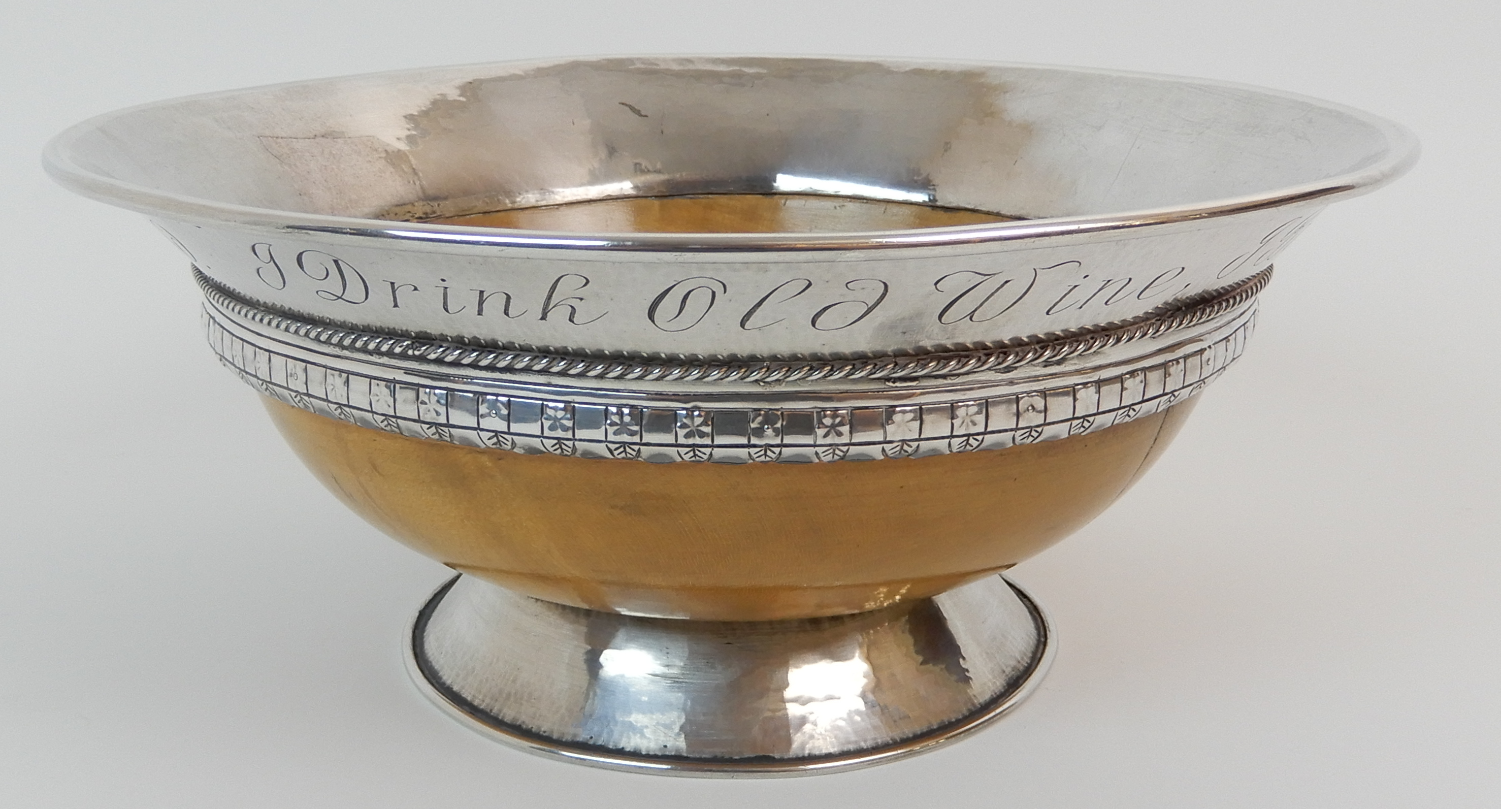 AN ARTS AND CRAFTS SILVER MOUNTED TREEN BOWL by Elizabeth Henry Kirkwood, Edinburgh 1947, or