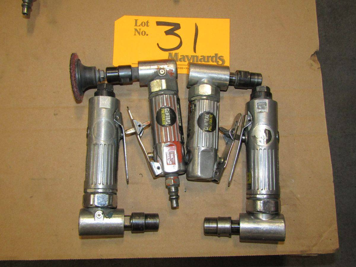 """Lot 31 - Central Pneumatic Pneumatic 1/4"""" Right Angle Die Grinders"""