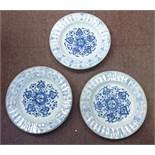 A set of three late 18thC Chinese porcelain plates, having raised uniformly thumb moulded borders,