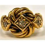 An 18ct gold three stone,