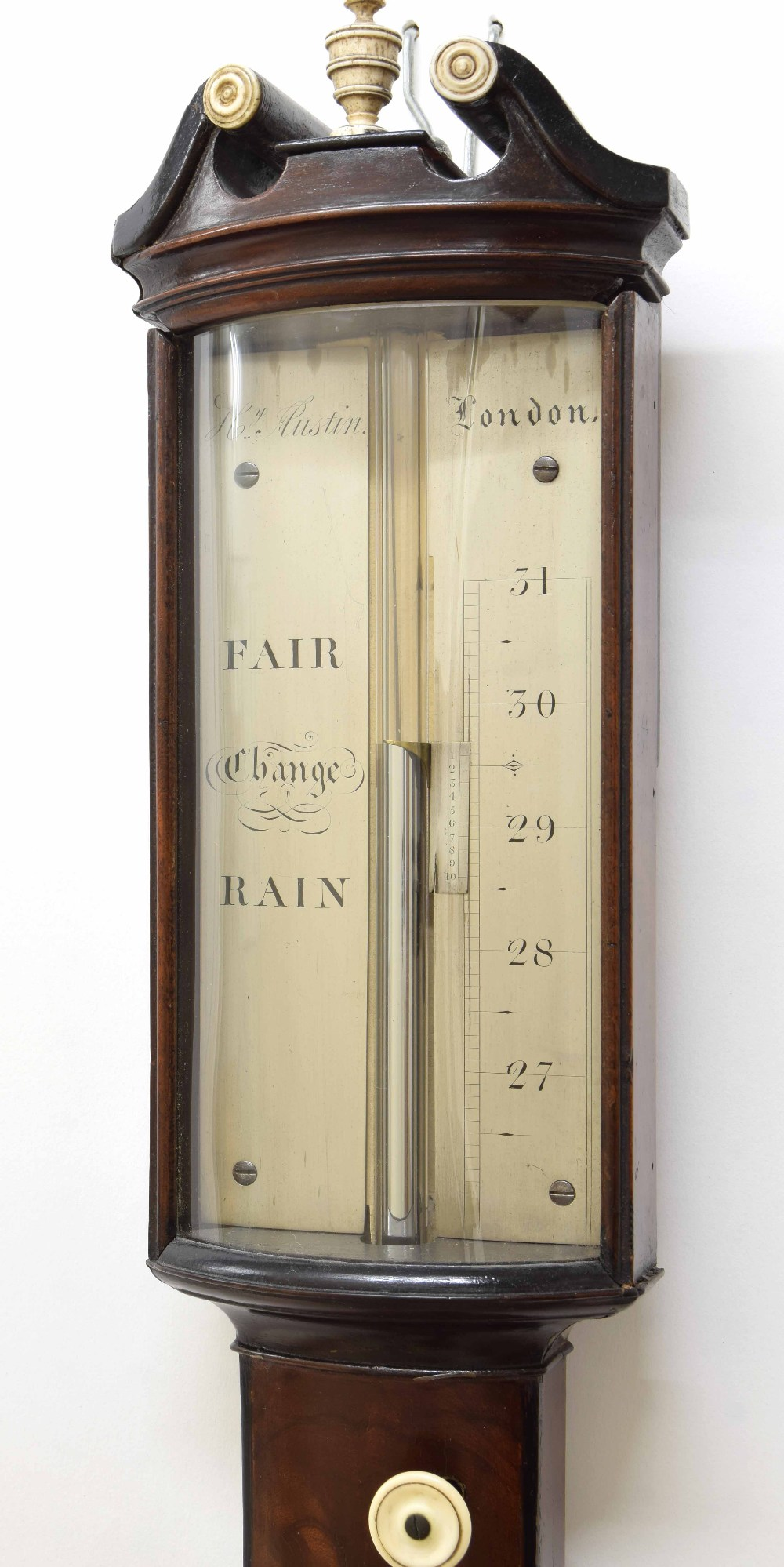 Lot 1008 - Good flame mahogany bowfront stick barometer, the silvered ivory scale signed Hy. Austin, London