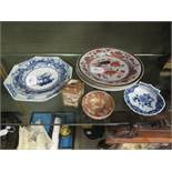 A Japanese Satsuma miniature vase and a tea bowl; various 18th century Chinese plates and a shell