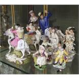 Eleven Derby porcelain figures, comprising a pair of Stevenson & Hancock 'Welsh Tailor and his wife'