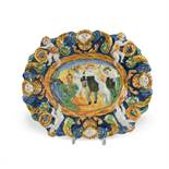 An 18th century Angarano maiolica dish, moulded and painted in green, yellow and blue with four