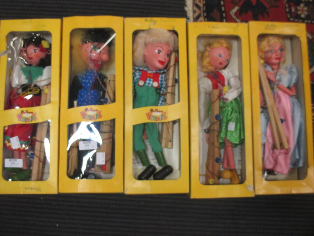 Lot 195 - Pelham Puppets. Five in boxes including: Hansel and Gretel, Cinderella, Witch, Gypsy and and a