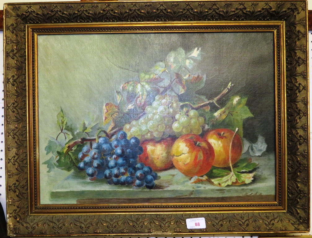 Lot 88 - FRAMED PICTURE ON CANVAS STILL LIFE OF FRUIT