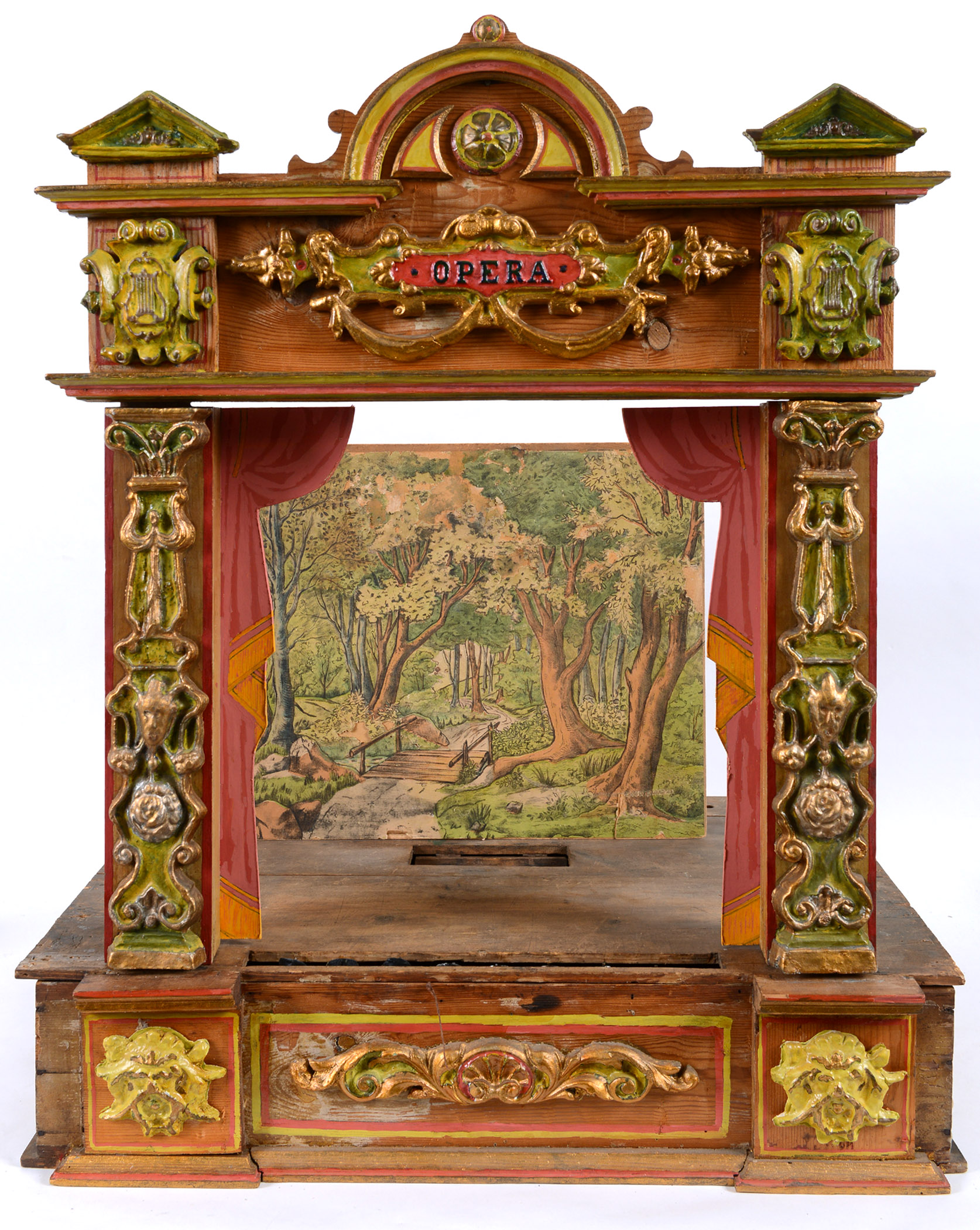19THC GERMAN TOY THEATRE a painted wooden theatre probably by