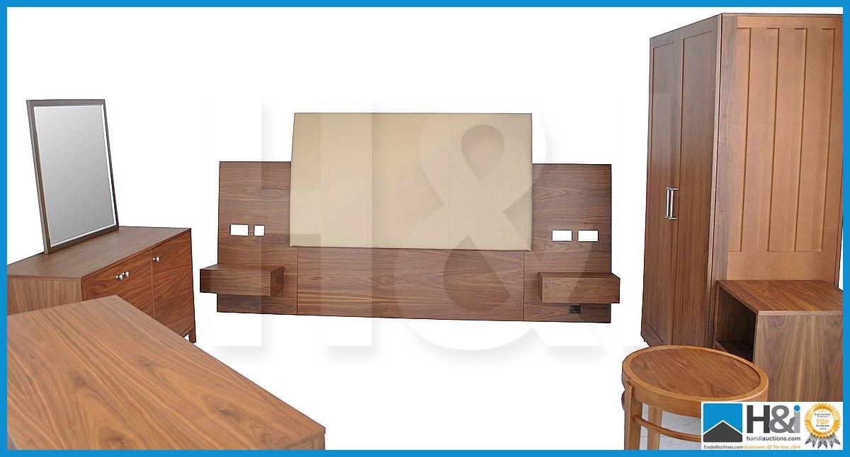 Lot 12 - Stunning black walnut bedroom furniture set comprising: 2-door wardrobe - H 193cm x W 110cm