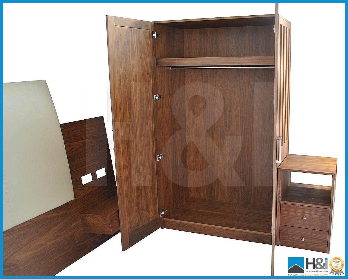 Lot 9 - Stunning black walnut bedroom furniture set comprising: 2-door wardrobe - H 193cm x W 110cm
