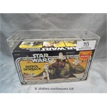 *STAR WARS PATROL DEWBACK FIGURE IN COLLECTORS CASE, KENNER 1983, GRADED BY UKGRADERS.COM 70%, CRACK