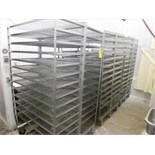(3) s/s smoke house racks on casters c/w s/s tray storage rack & contents