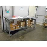 s/s table, 30 in. x 96 in. on casters